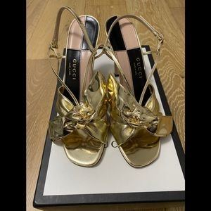 GUCCI/Open Toe/Sandal/Leather Upper/Gold/61/2